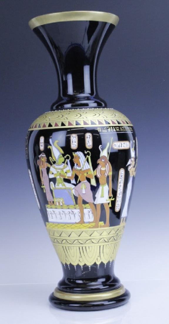 Large MURANO Art Glass Egyptian Tomb Painting Vase - 2