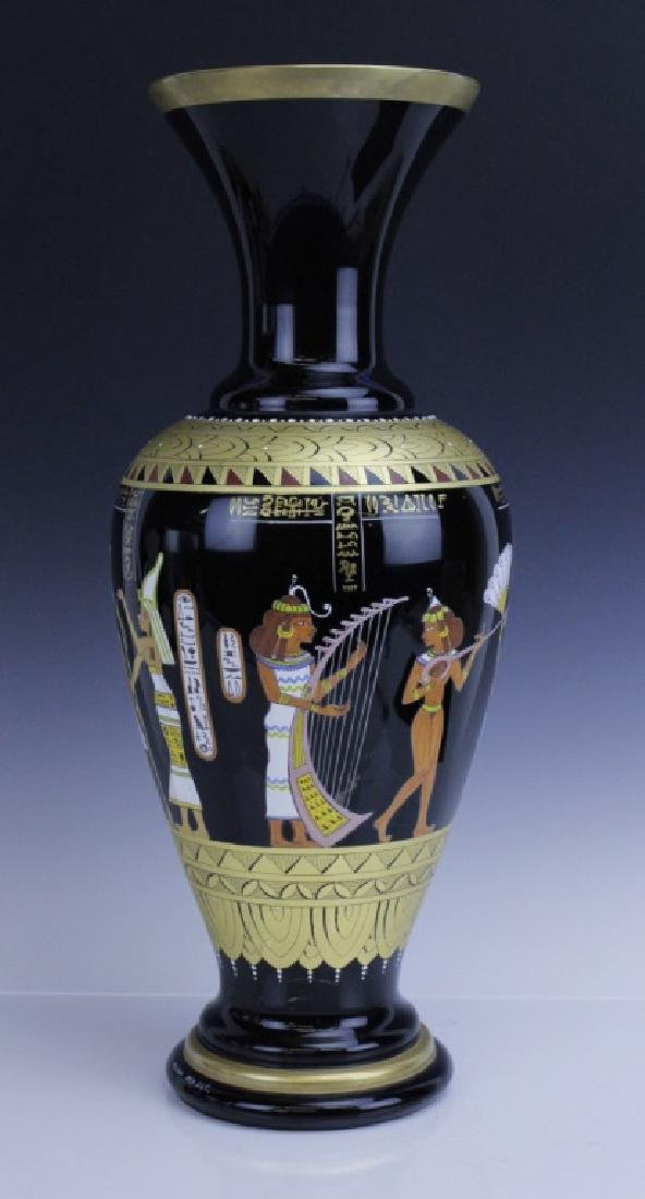 Large MURANO Art Glass Egyptian Tomb Painting Vase - 4