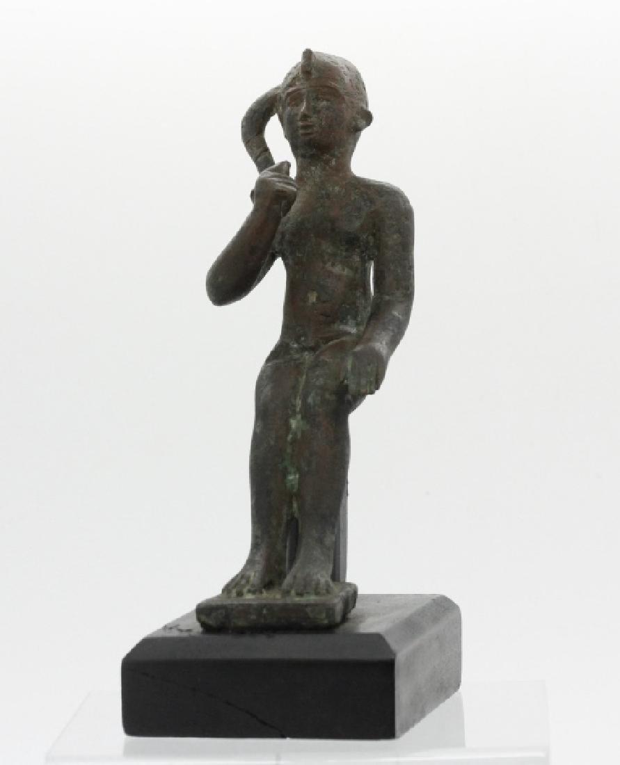 Late Period Egyptian Bronze Figure of Harpocrates