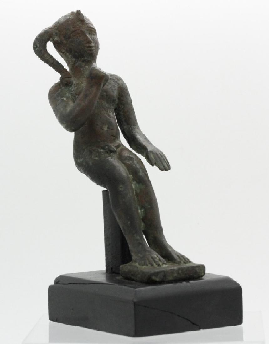 Late Period Egyptian Bronze Figure of Harpocrates - 4
