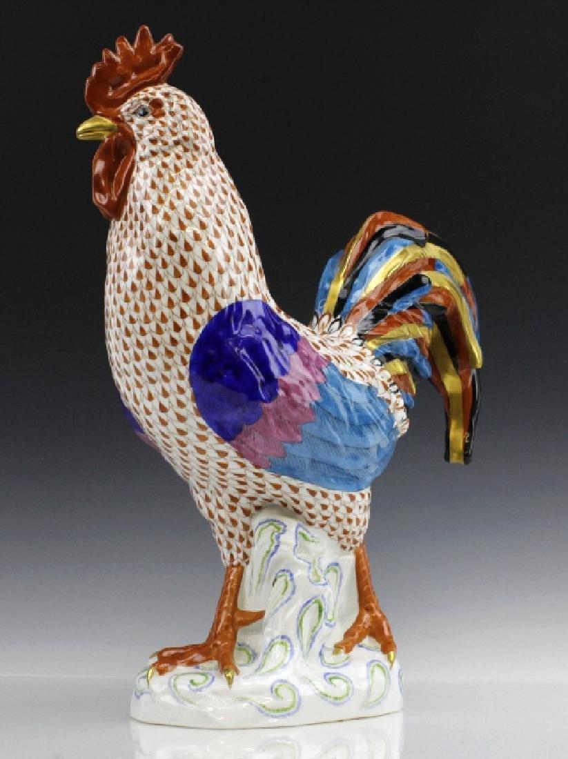 Large HEREND Rust Red Fishnet Porcelain Rooster - 5