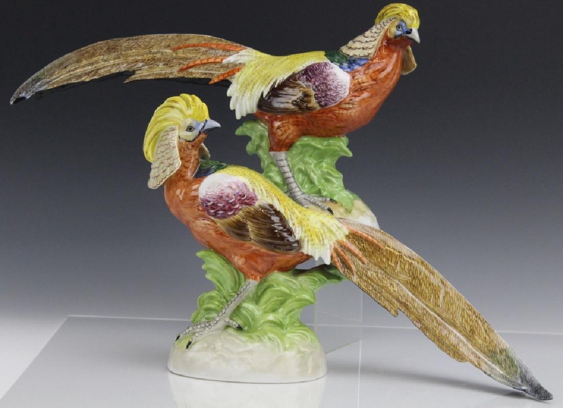 Pair Signed DRESDEN Porcelain Golden Pheasants