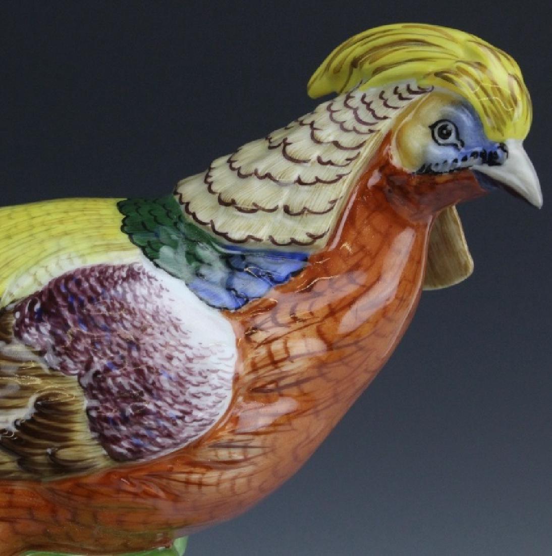 Pair Signed DRESDEN Porcelain Golden Pheasants - 3