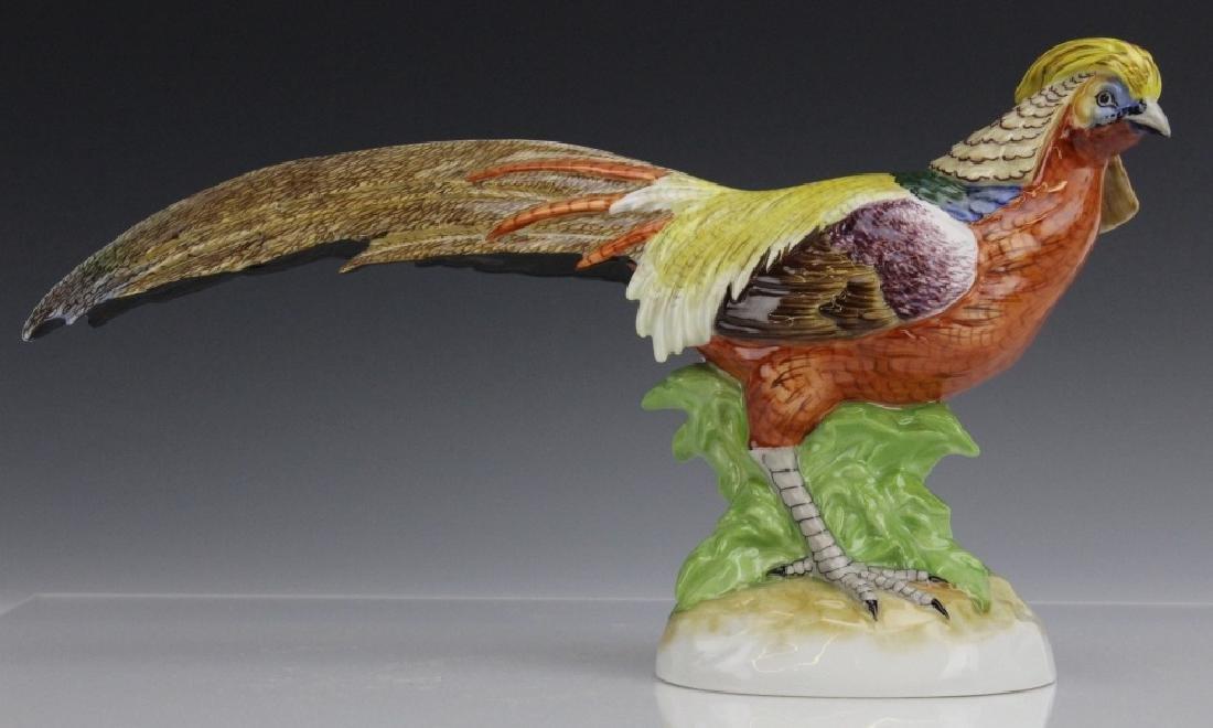 Pair Signed DRESDEN Porcelain Golden Pheasants - 7