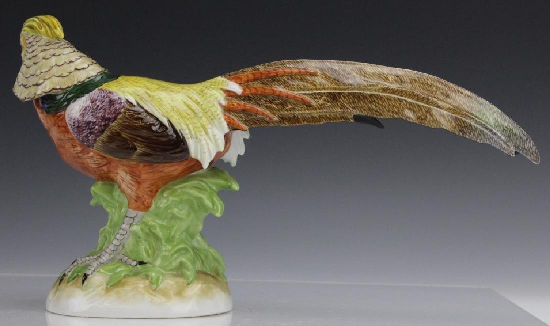 Pair Signed DRESDEN Porcelain Golden Pheasants - 8