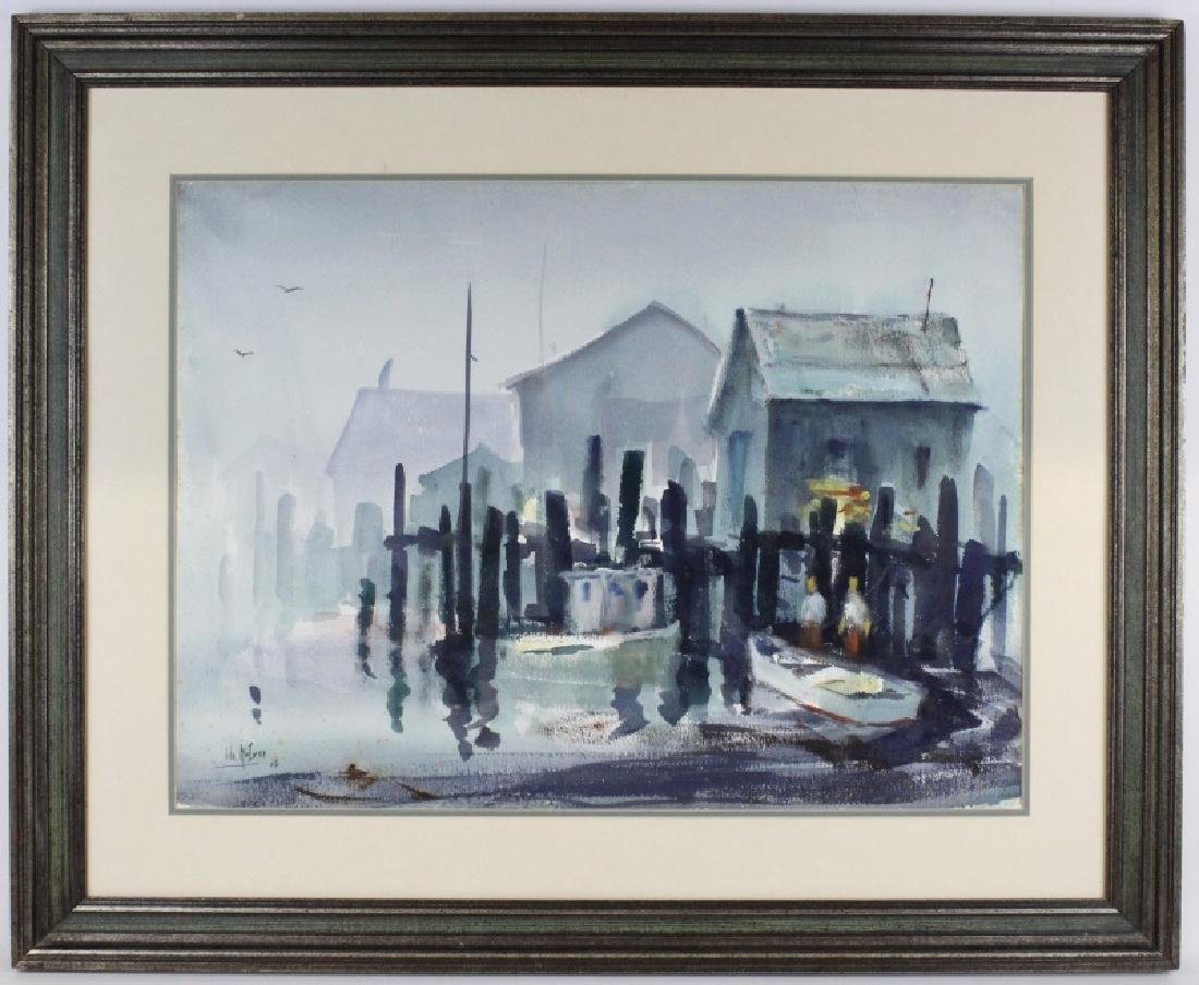 Signed JOHN McIVER Dockside Watercolor Painting