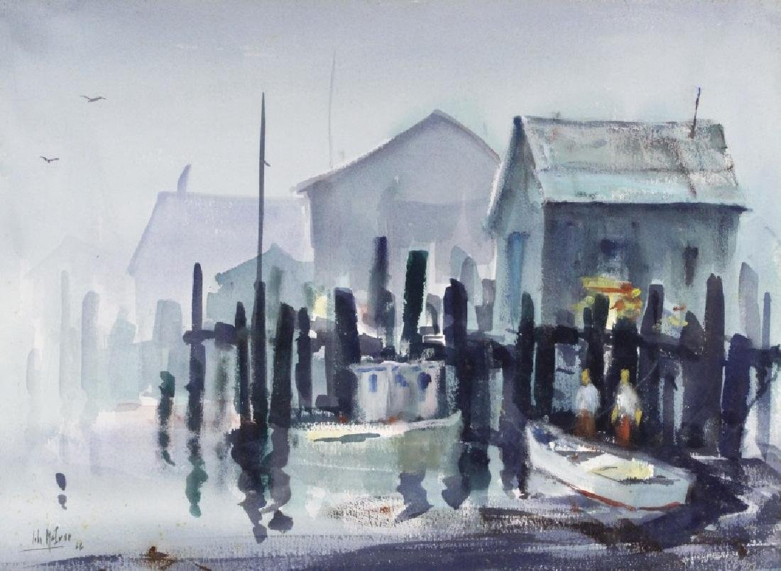 Signed JOHN McIVER Dockside Watercolor Painting - 2