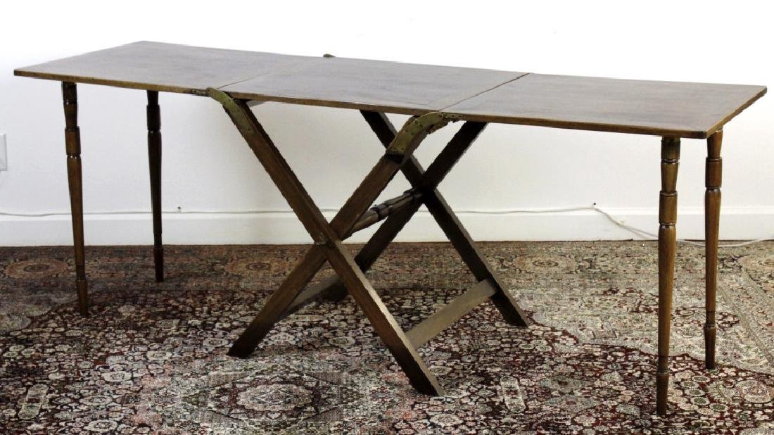 Antique 19c English Campaign Traveling Table