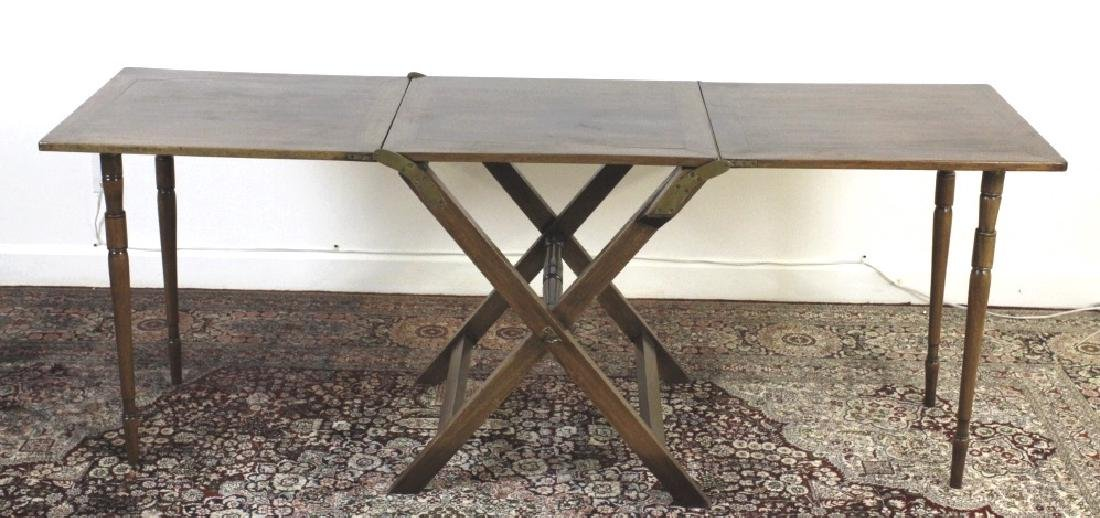 Antique 19c English Campaign Traveling Table - 3