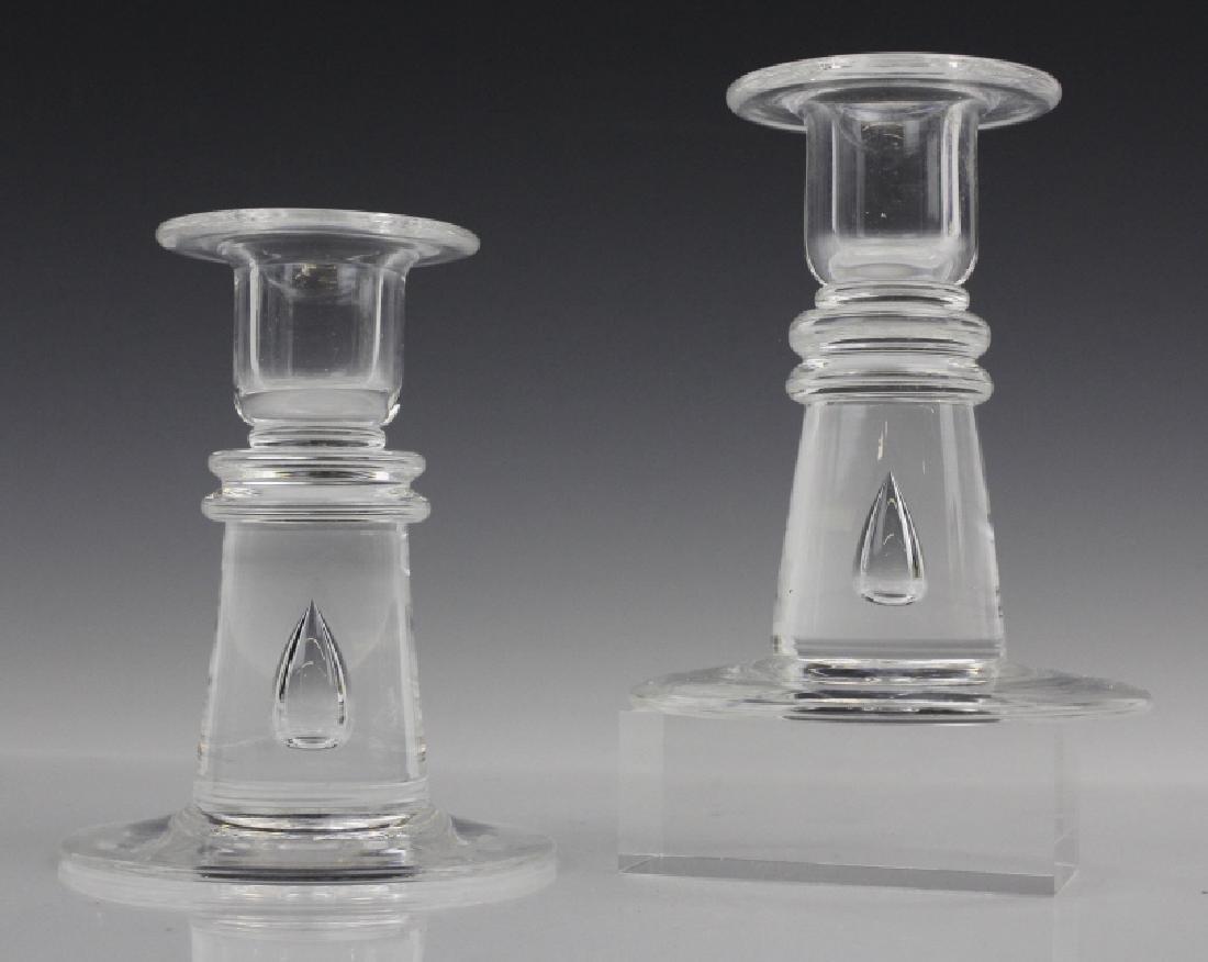 Pair Steuben Glass Controlled Bubble Candlesticks