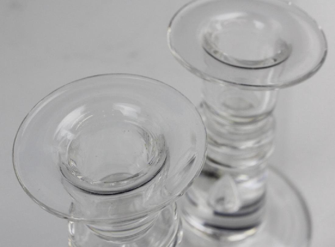Pair Steuben Glass Controlled Bubble Candlesticks - 4