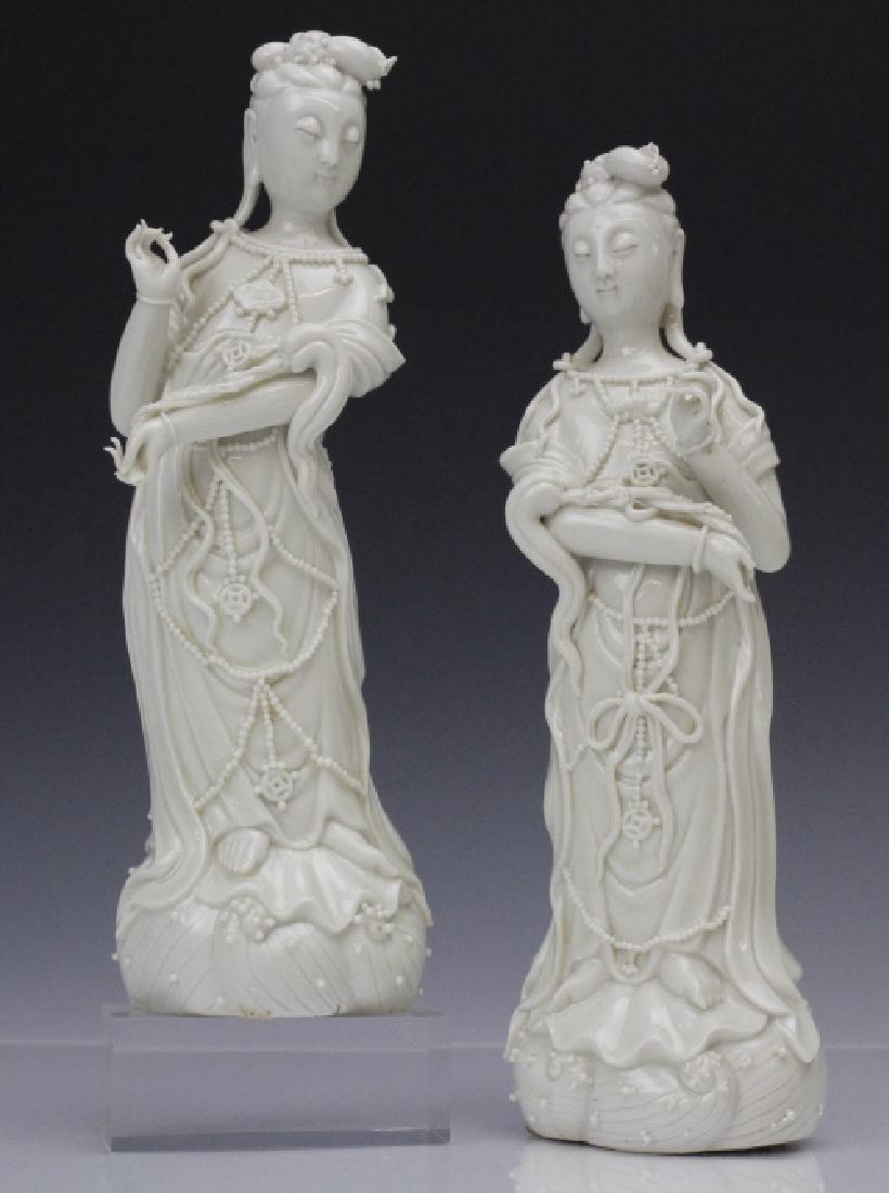 Pair Blanc de Chine Ho Chao Tsung Guanyin Figures