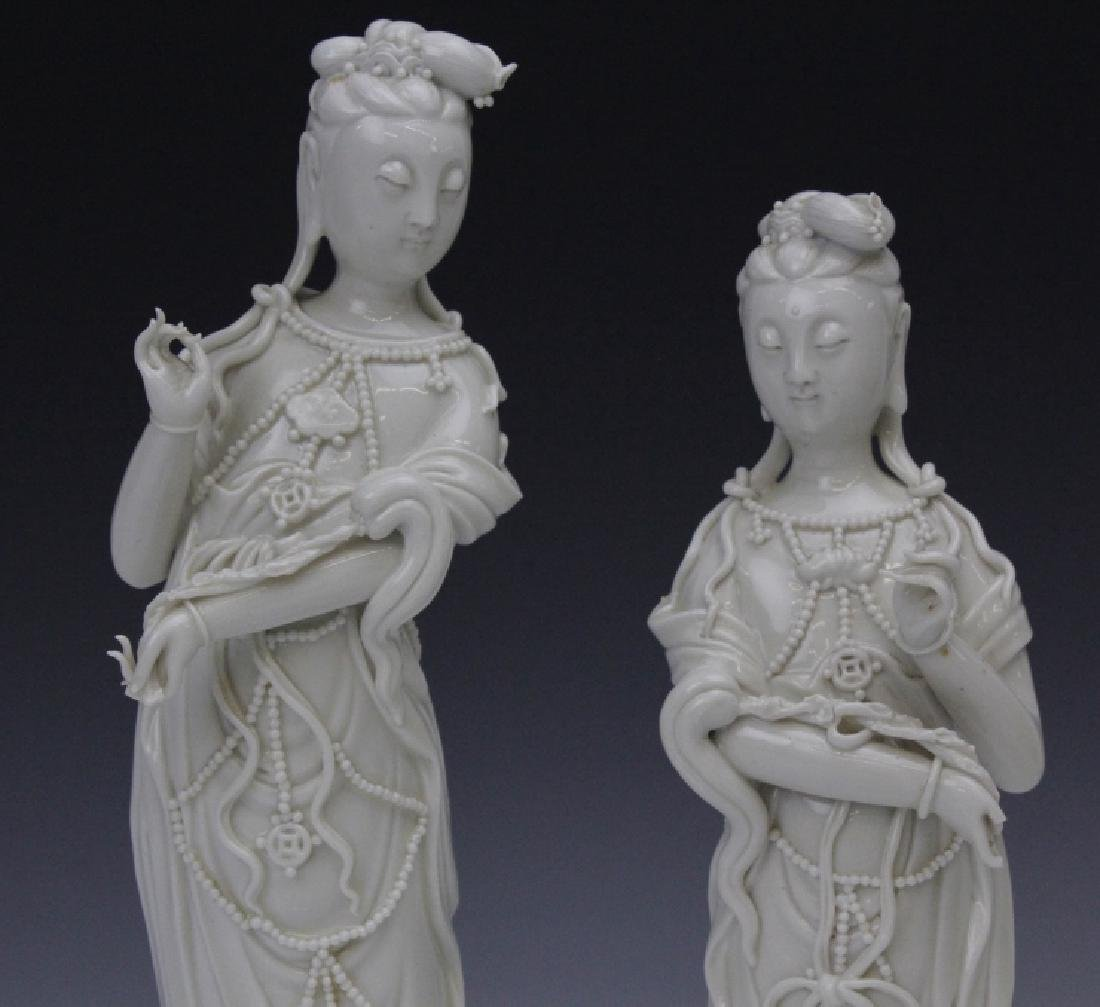 Pair Blanc de Chine Ho Chao Tsung Guanyin Figures - 2