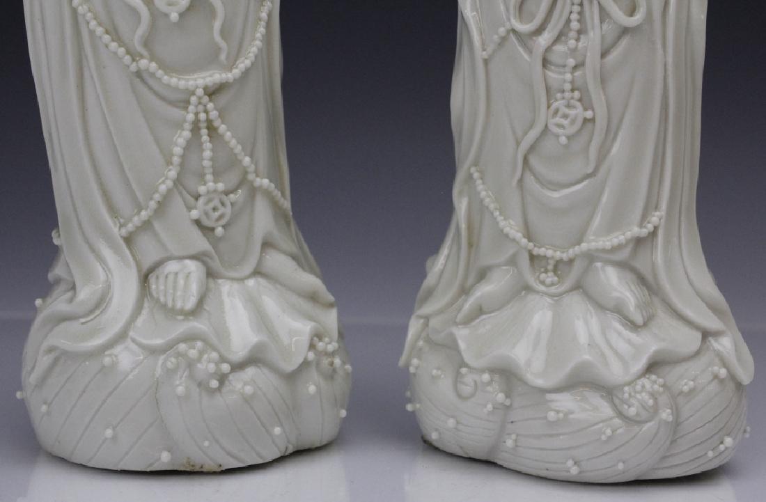 Pair Blanc de Chine Ho Chao Tsung Guanyin Figures - 3