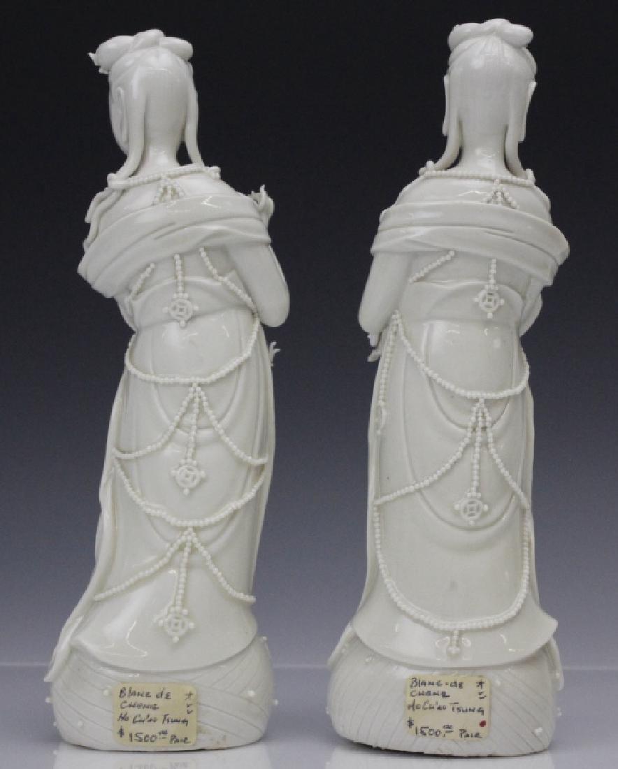 Pair Blanc de Chine Ho Chao Tsung Guanyin Figures - 4