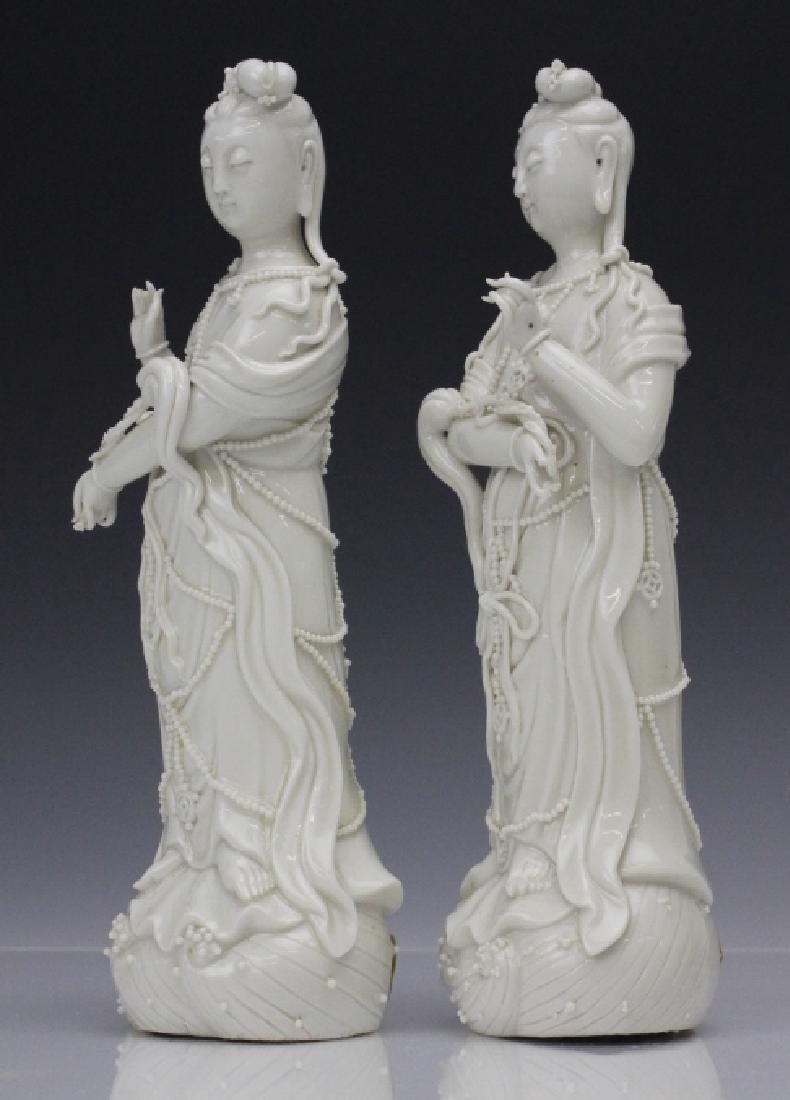 Pair Blanc de Chine Ho Chao Tsung Guanyin Figures - 6