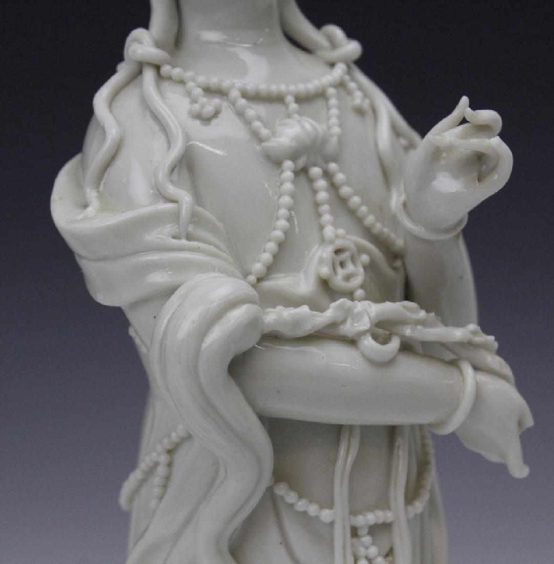 Pair Blanc de Chine Ho Chao Tsung Guanyin Figures - 9