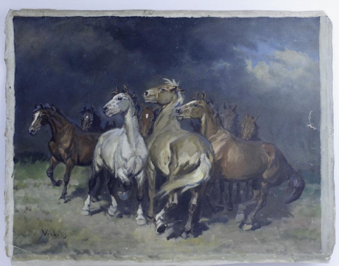 JEAN VISKI Wild Horses Western Landscape Painting