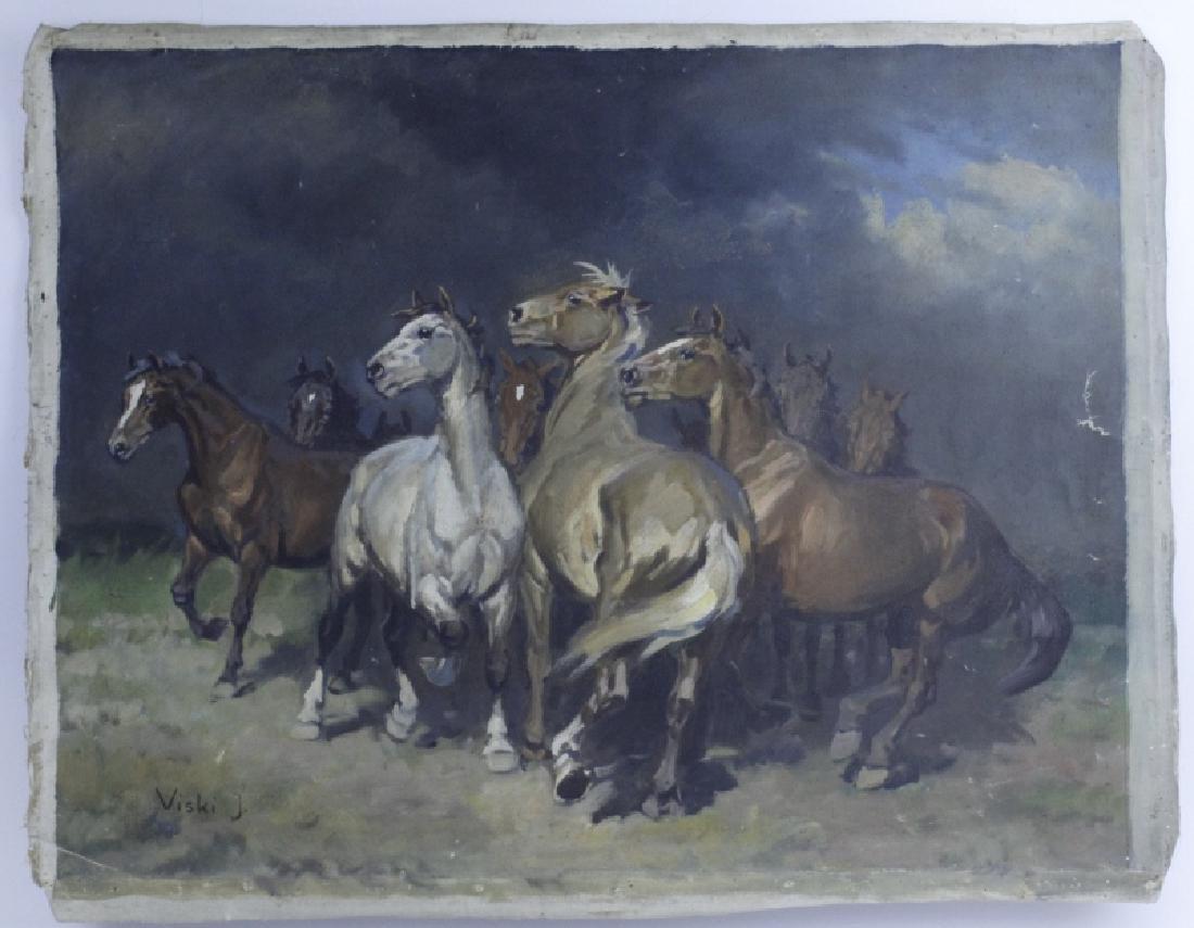 JEAN VISKI Wild Horses Western Landscape Painting - 2