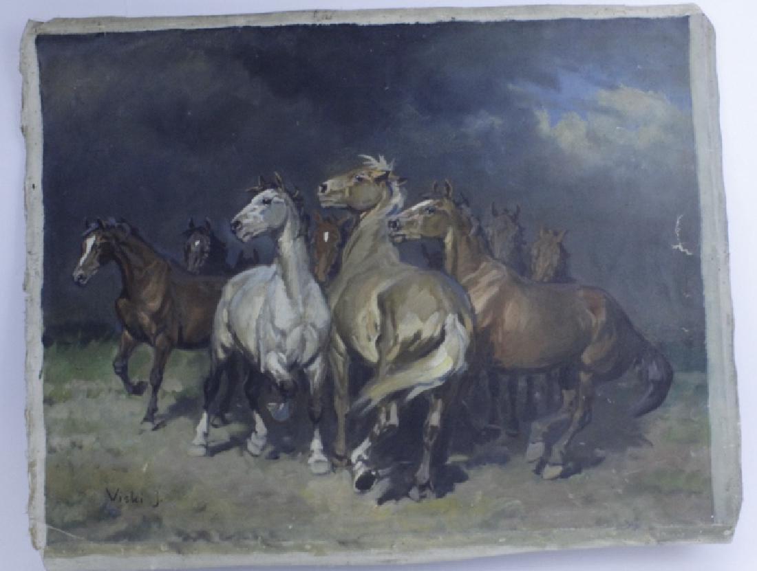 JEAN VISKI Wild Horses Western Landscape Painting - 5