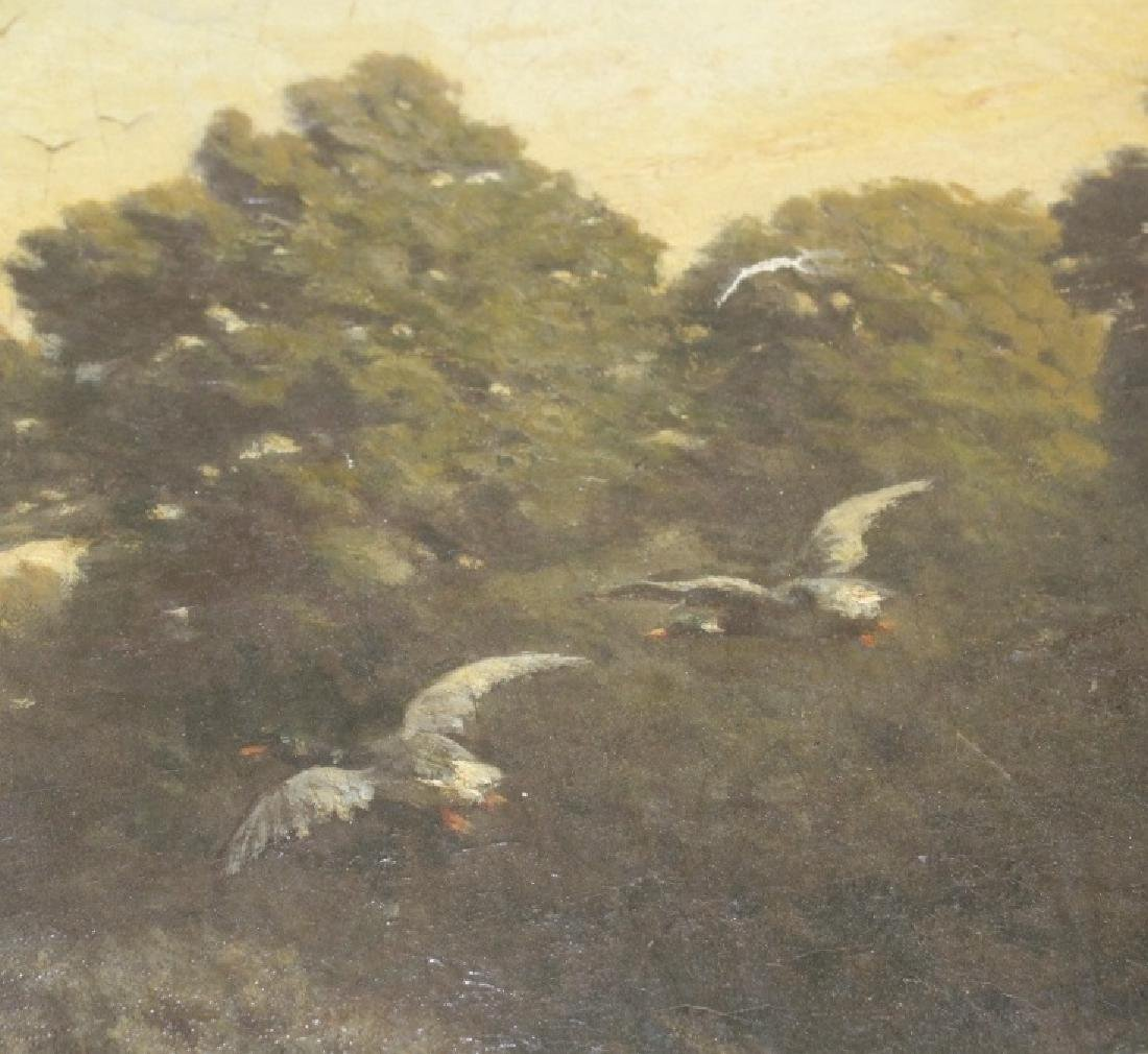 Antique English School Duck Hunt Scene Painting - 5