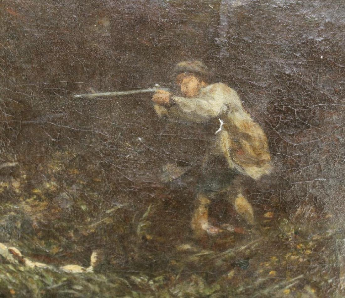 Antique English School Duck Hunt Scene Painting - 6