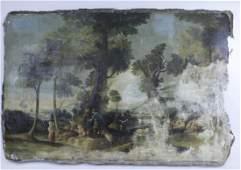 Large Antique European Landscape Oil Painting