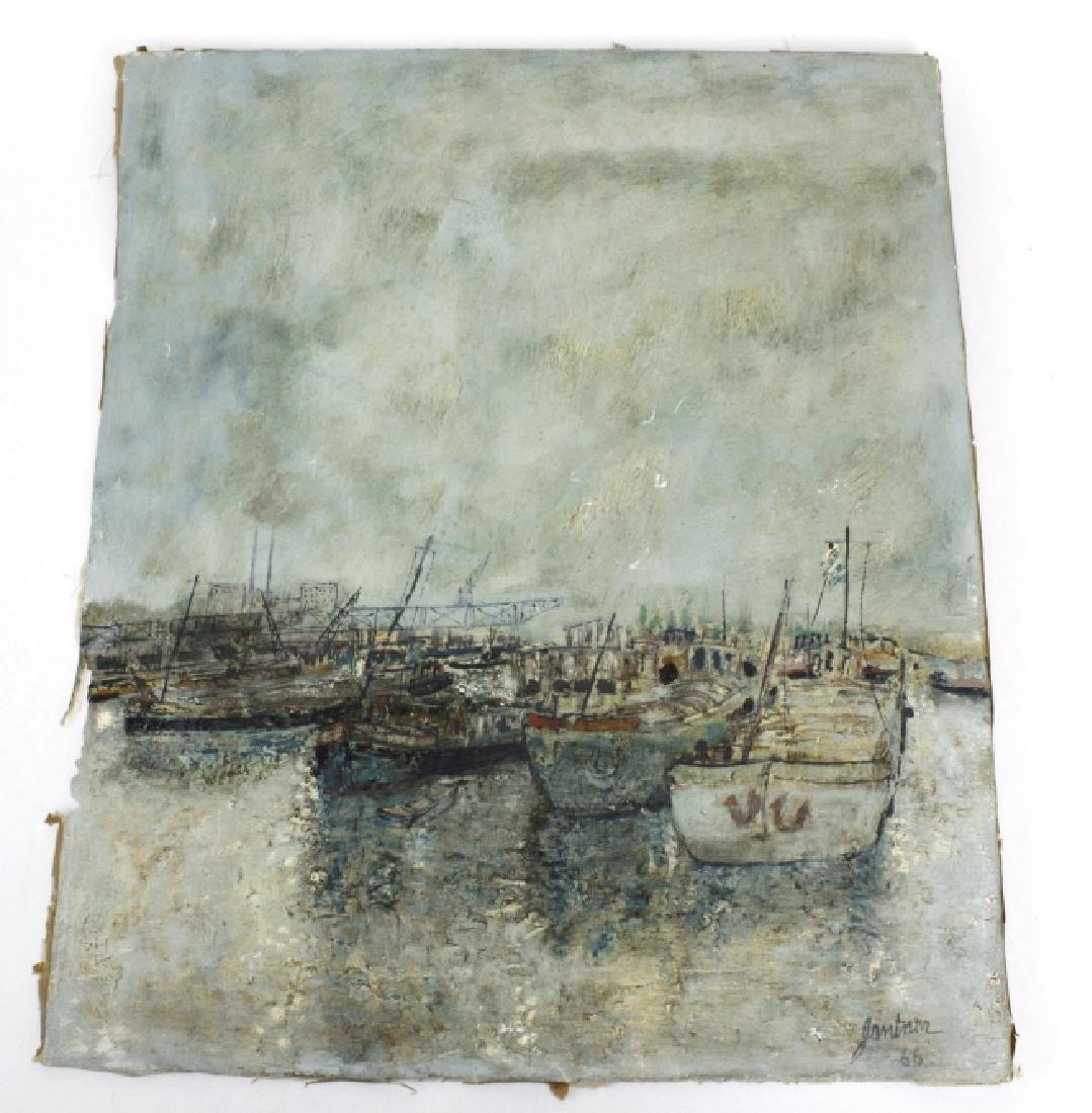 Bernard Gantner Marina Boats Seascape Oil Painting