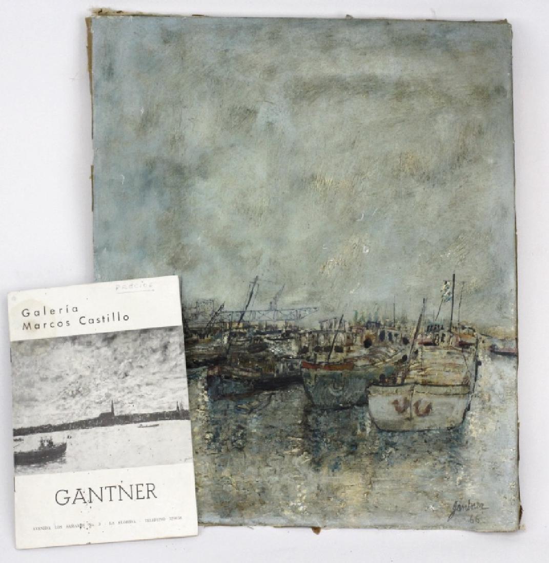 Bernard Gantner Marina Boats Seascape Oil Painting - 2