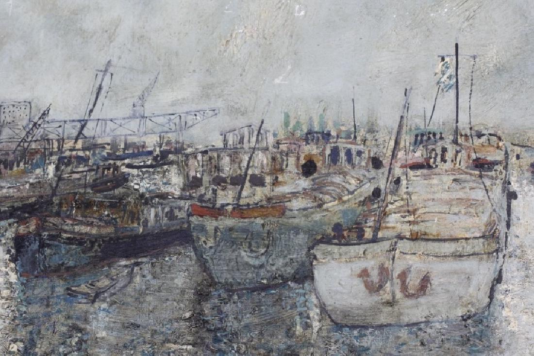 Bernard Gantner Marina Boats Seascape Oil Painting - 4