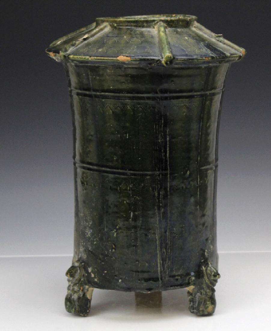 Han Dynasty Red Pottery Green Glaze Granary Statue