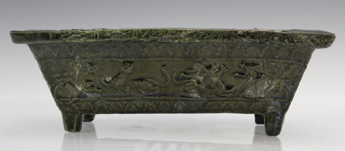 Ming Dynasty Animal Motif Glazed Pottery Planter