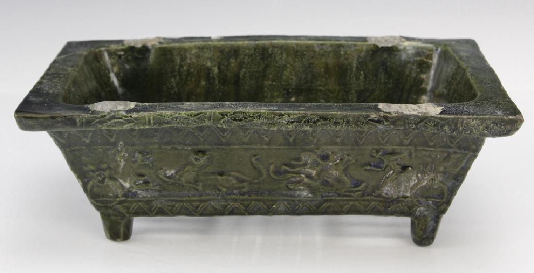 Ming Dynasty Animal Motif Glazed Pottery Planter - 2