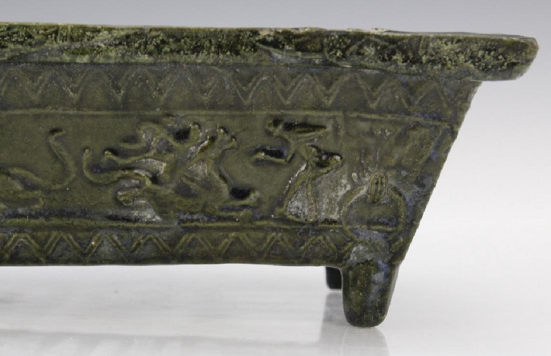 Ming Dynasty Animal Motif Glazed Pottery Planter - 3