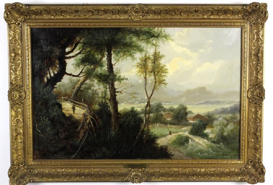Antique GEORGE COLE English Landscape Oil Painting