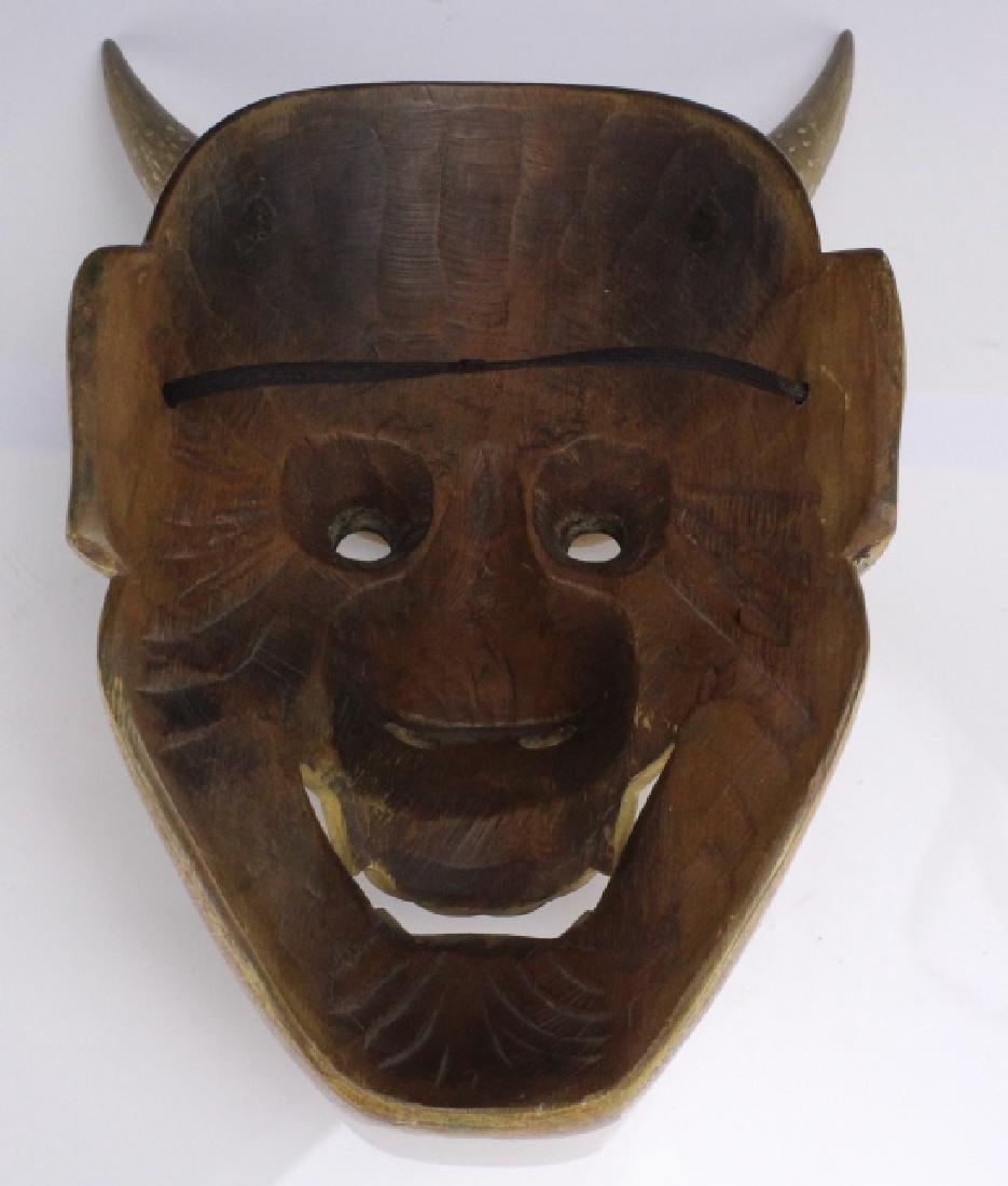Lot 3 Antique Japanese Meiji Period NO Face Masks - 8