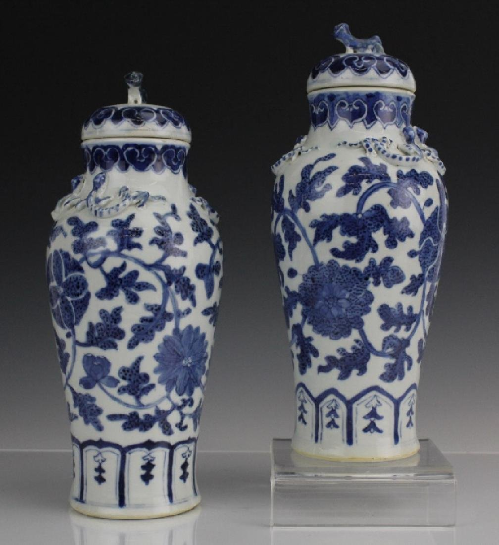 Pair of Chinese Export Blue White Porcelain Vases