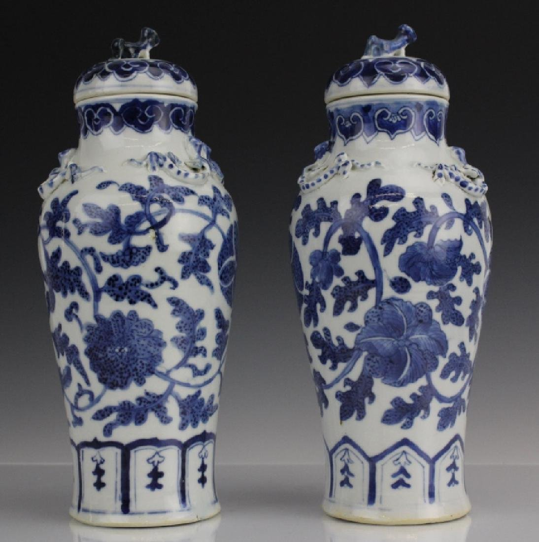 Pair of Chinese Export Blue White Porcelain Vases - 2