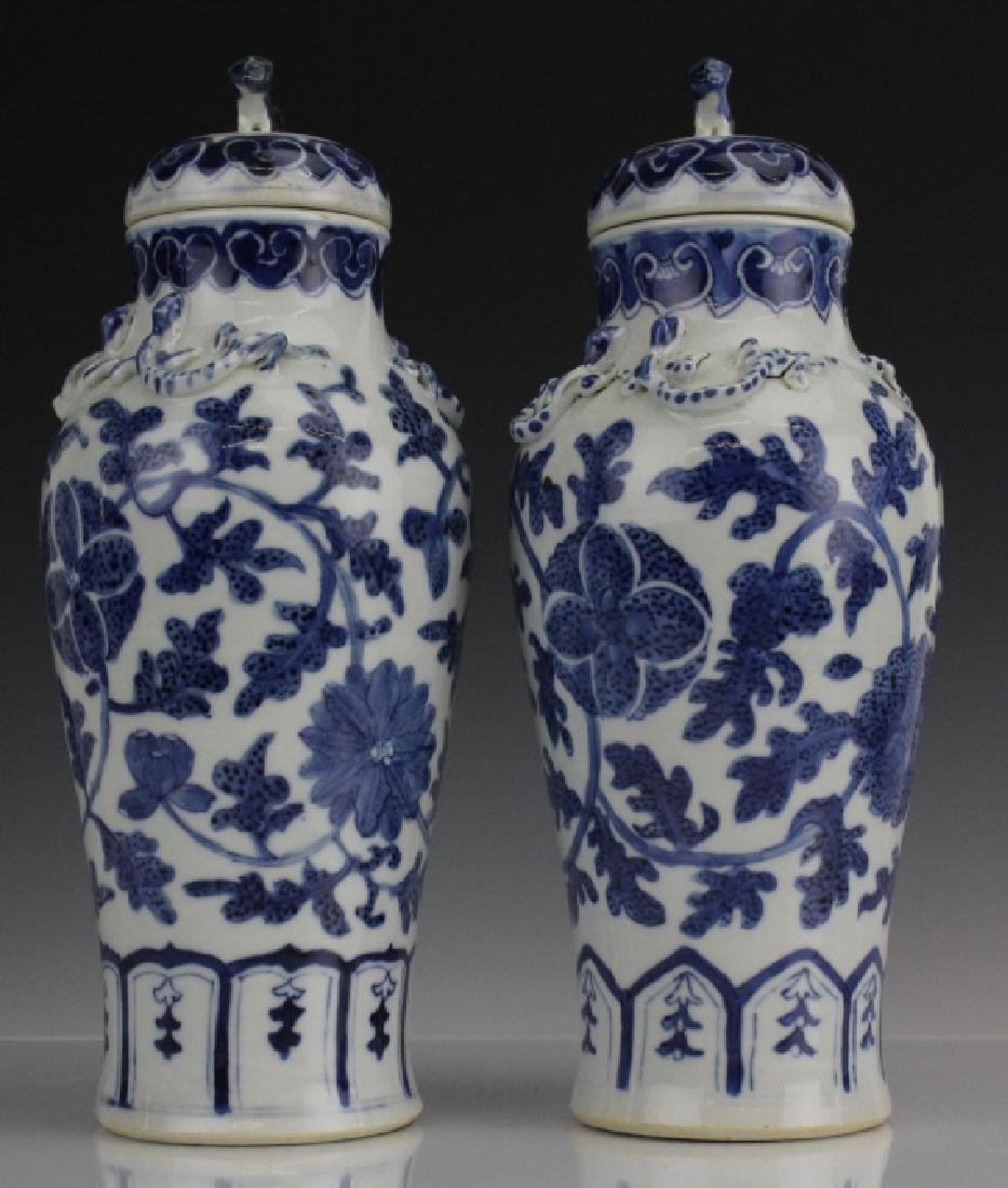 Pair of Chinese Export Blue White Porcelain Vases - 3