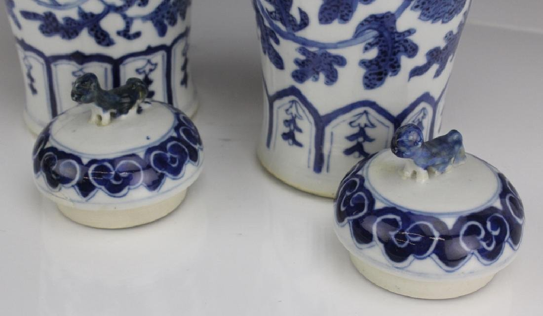 Pair of Chinese Export Blue White Porcelain Vases - 4