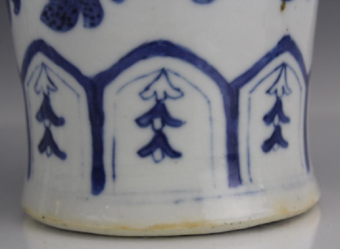 Pair of Chinese Export Blue White Porcelain Vases - 8