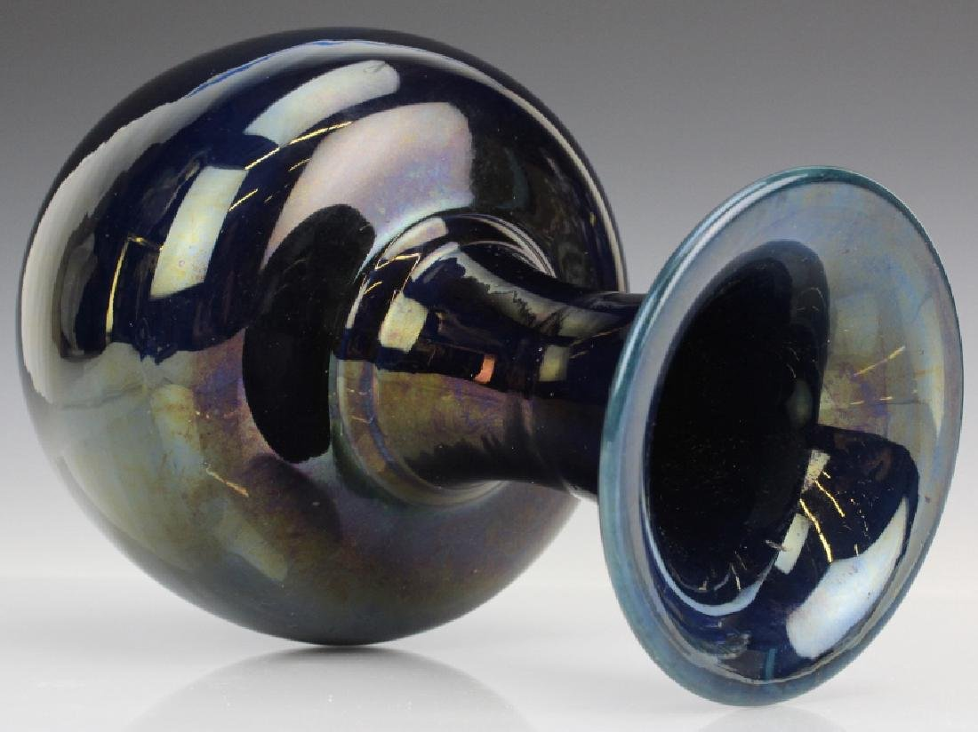 Chinese Dark Mirror Blue Glaze Porcelain Vase - 5