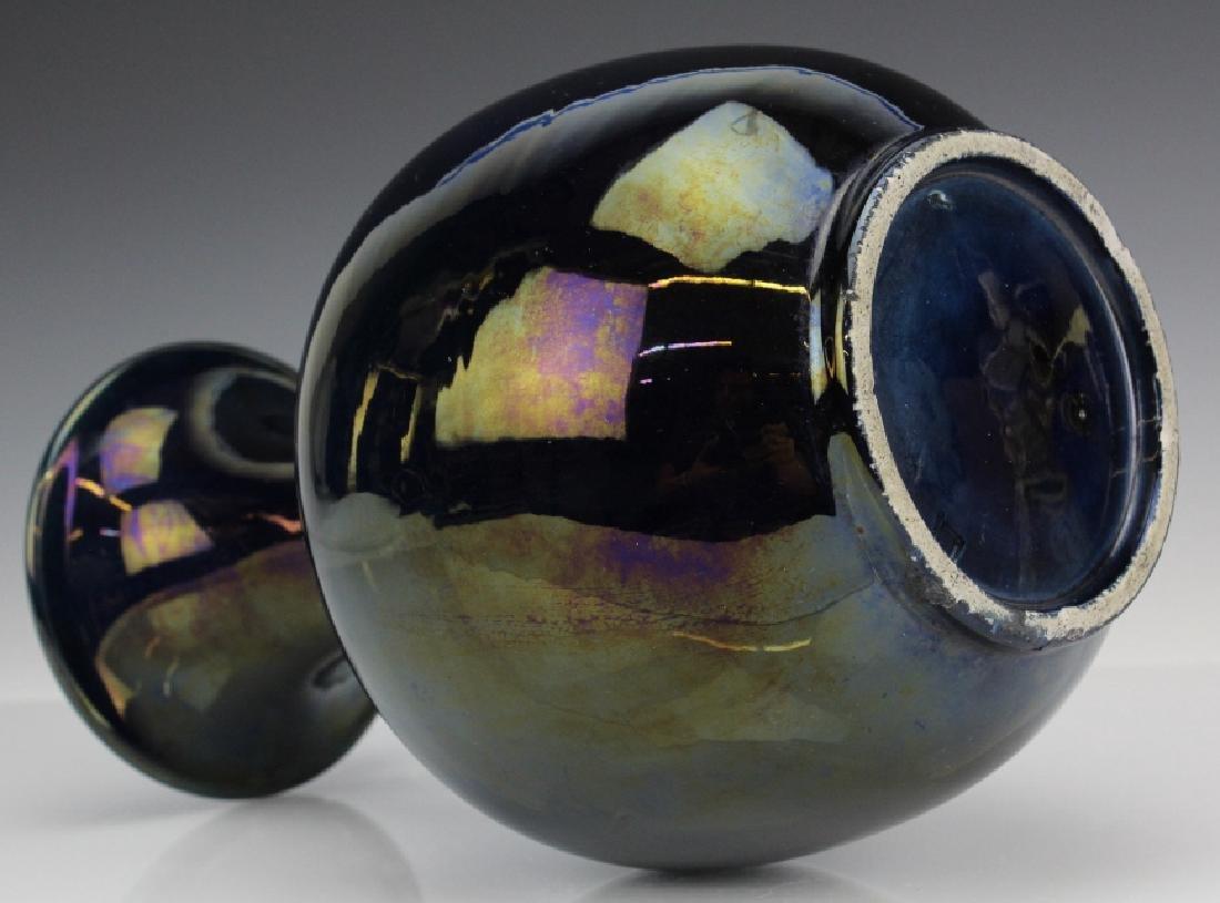 Chinese Dark Mirror Blue Glaze Porcelain Vase - 7