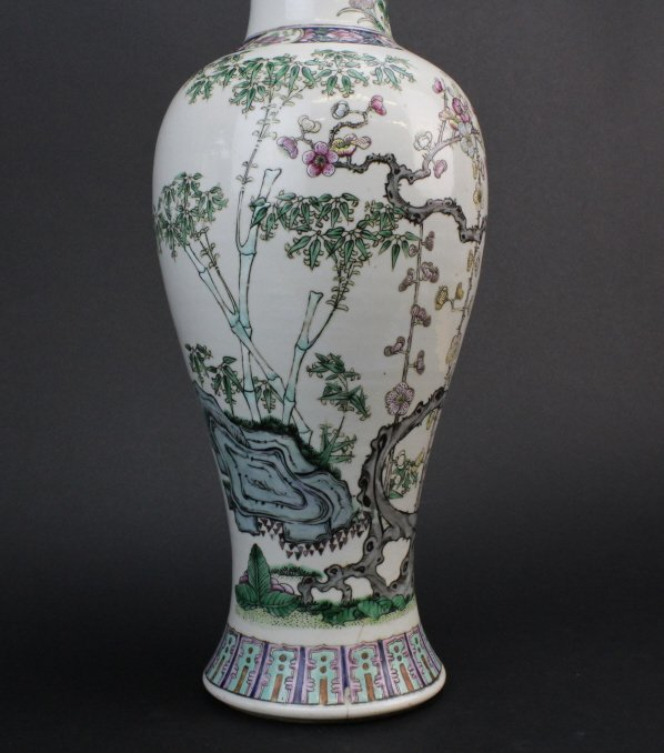 Antique Chinese Famille Rose Porcelain Vase Lamp