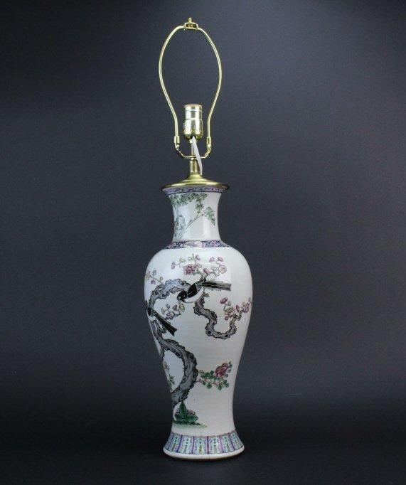 Antique Chinese Famille Rose Porcelain Vase Lamp - 4
