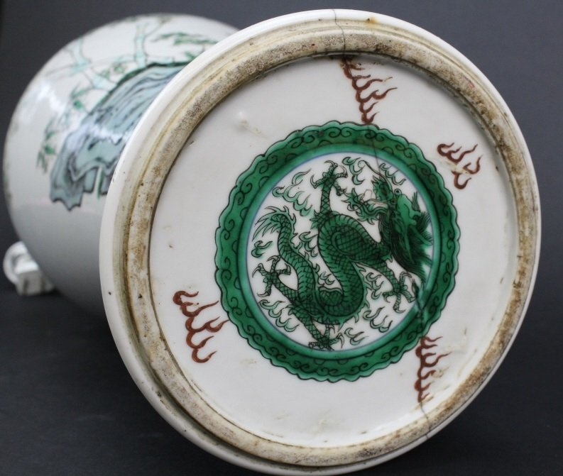 Antique Chinese Famille Rose Porcelain Vase Lamp - 8