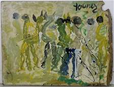 """Purvis Young Outsider """"Dancers"""" Folk Art Painting"""