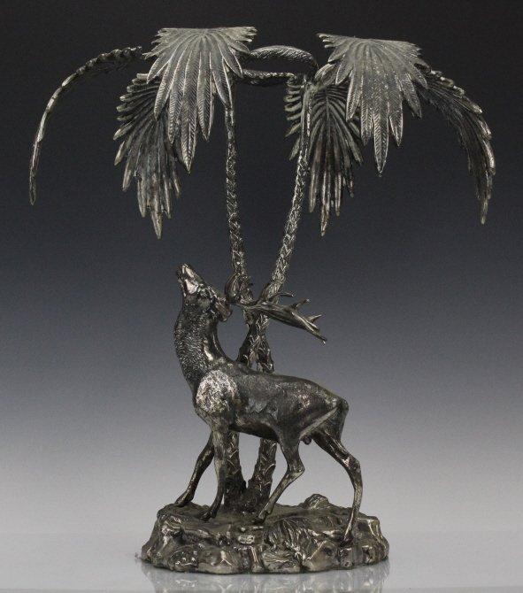 Valenti Silvered Bronze Deer Figural Centerpiece