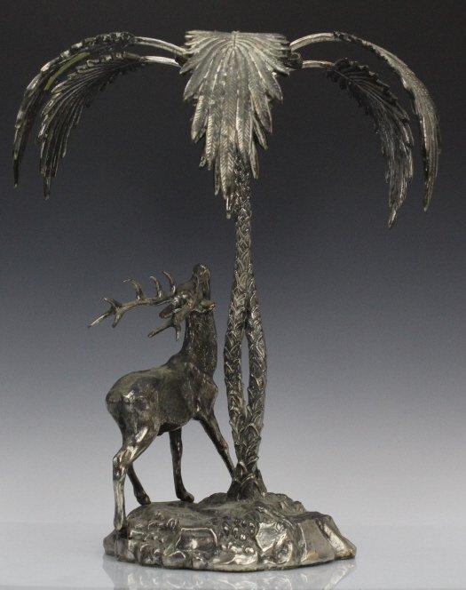 Valenti Silvered Bronze Deer Figural Centerpiece - 3