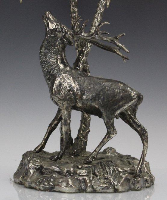 Valenti Silvered Bronze Deer Figural Centerpiece - 4